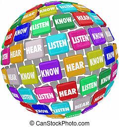 ascoltare, sentire, sapere, parole, tegole, globo, pagare, attenzione, imparare, educazione