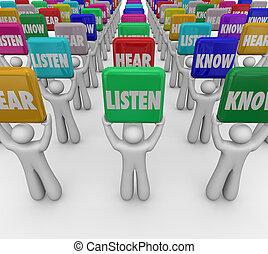 ascoltare, sentire, sapere, persone, studenti, presa a terra, segni, cultura, understa