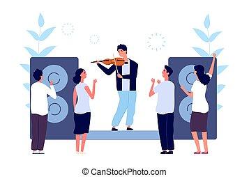 ascoltare, sera, persone, vettore, suono, concert., performance., illustrazione, musicista classico, violin., intrattenimento, musica, violinista, orchestra