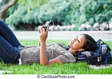 ascolto, musica, università, asiatico, studente
