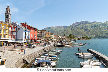Ascona, Ticino, Switzerland. - Ascona on the shore of Lake ...