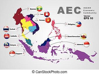 asean, aec, económico, (map), comunidad