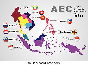 asean, aec, economico, (map), comunità