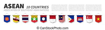 ASEAN . Association of Southeast Asian Nations . and membership flags . 3D realistic pennant hanging design . White isolated background and south east asia map . Vector .