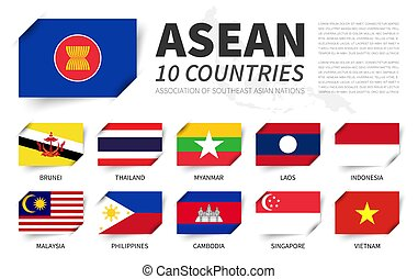ASEAN . Association of Southeast Asian Nations . And membership flags . And south east asia map on background . Inserted paper flag design . Vector .