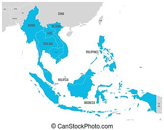 asean, económico comunidad, aec, map., gris, mapa, con, azul, destacado, miembro, países, sudeste, asia., vector, ilustración
