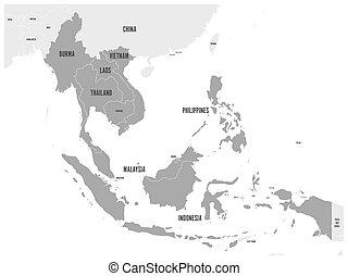 asean, económico comunidad, aec, map., gris, mapa, con, gris oscuro, destacado, miembro, países, sudeste, asia., vector, ilustración