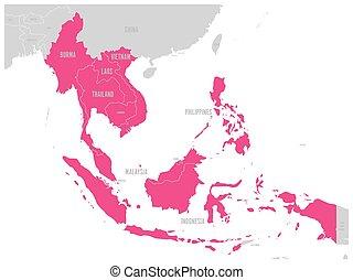 asean, económico comunidad, aec, map., gris, mapa, con, rosa, destacado, miembro, países, sudeste, asia., vector, ilustración