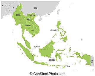 asean, económico comunidad, aec, map., gris, mapa, con, verde, destacado, miembro, países, sudeste, asia., vector, ilustración