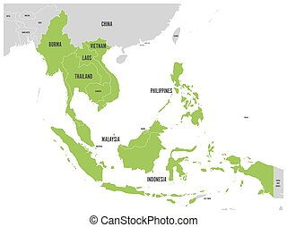 ASEAN Economic Community, AEC, map. Grey map with green ...
