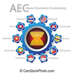 Illustration of AEC or asean economic community sign in white background.