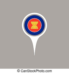 Asean flag location map icon , Vector illustration.