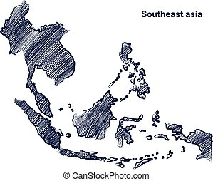 Asean map - Southeast asia map hand drawn background...