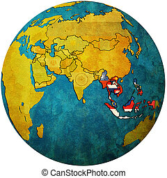 ASEAN on globe map with asia