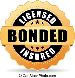 asegurado, licenciado, bonded, icono