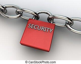 asegurar, cerradura, dos, seguridad, cadenas, rojo