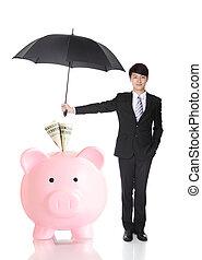 asekurować, parasol, handlowy, pieniądze, dzierżawa, twój, człowiek