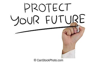asekurować, przyszłość, twój
