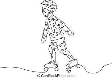 asekurować, rollerblading., ciągły, theme., jeden, koźlę, kreska, sport, rysunek, odzież