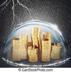 asekurować, savings., pojęcie, od, ubezpieczenie, i, pieniądze, protection., 3d, przedstawienie