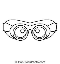 asekurować, szkic, praca, styl, ikona, okulary
