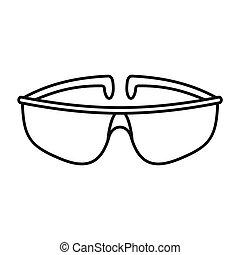 asekurować, szkic, styl, chemiczny, ikona, okulary