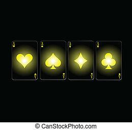 ases, póker, tarjeta, signo amarillo