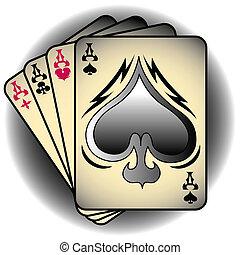 ases, palas, póker, arte, clip
