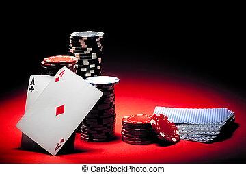 ases, par, pedacitos del póker