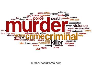 asesinato, palabra, nube