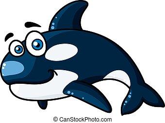 asesino, caricatura, ballena, feliz, o, orca