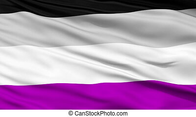 Asexual Close Up Waving Flag - Asexual Flag, Close Up...