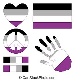 Asexual pride design elements. - Asexual pride flag, heart,...