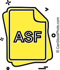 asf, bestand, type, pictogram, ontwerp, vector