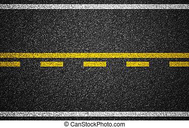 asfalt, hovedkanalen, hos, mærkninger vej, baggrund