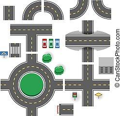 asfalt, onderdelen, vector, plan, template., straat