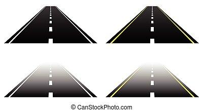 asfalt, prosty, lanes., dwa, strony, white., zanik, drogi, ...