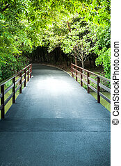 Asfalt road bridge pathway