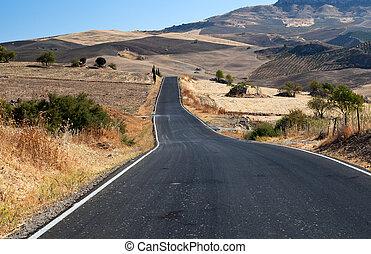 asfalt road in Andalucia - asfalt road in countryside...