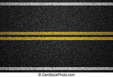 asfalt, snelweg, met, wegnoteringen, achtergrond