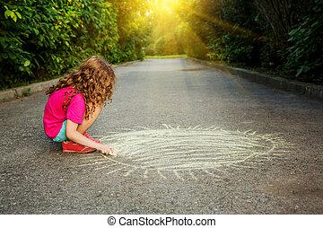 asfalt, verven, kind, light., ondergaande zon , zon