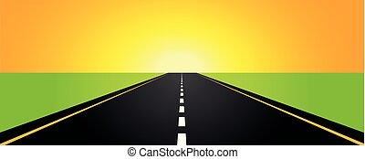 asfalter vej, gul, solopgang