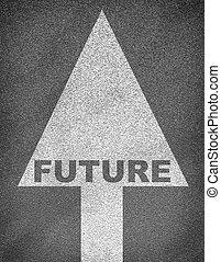 asfalter vej, tekstur, hos, pil, og, glose, fremtid