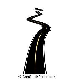 asfalto, abstratos, isolado, experiência., branca, estrada