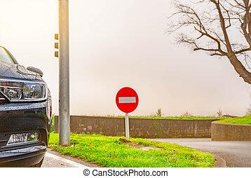 asfalto, automobile, nero, parcheggiato, parking., vista frontale