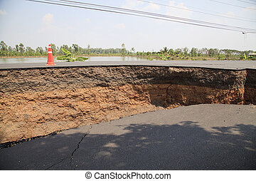 asfalto, camada, rachado, estrada