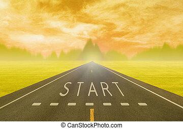 asfalto, campo, segno, inizio, tramonto, attraverso, strada