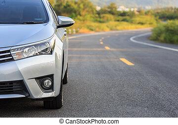 asfalto, coche, estacionamiento, frente, nuevo, plata,...
