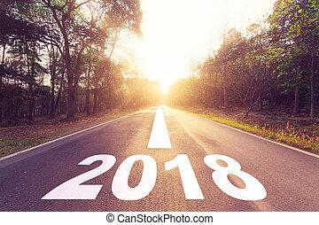 asfalto, concept., vazio, ano, novo, estrada, 2018, metas