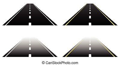 asfalto, direito, lanes., dois, partes, white., desaparecer...